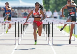 OTTAWA - JULY 08: Devyani Biswal competes in the Women's 110m hurdles semi-final during the 2017 Canadian Track and Field Championships at the Terry Fox Athletic Facility in Ottawa, ON., Canada on July 7, 2017. Photo: Steve Kingsman for Sports Ottawa/Ottawa Sportspage