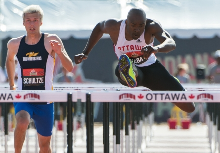 OTTAWA - JULY 08: Sekou Kaba competes in the Men's 110m hurdles semi-final during the 2017 Canadian Track and Field Championships at the Terry Fox Athletic Facility in Ottawa, ON., Canada on July 7, 2017. Photo: Steve Kingsman for Sports Ottawa/Ottawa Sportspage