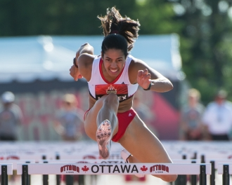 OTTAWA - JULY 08: Ashlea Maddex competes in the Women's 110m hurdles semi-final during the 2017 Canadian Track and Field Championships at the Terry Fox Athletic Facility in Ottawa, ON., Canada on July 7, 2017. Photo: Steve Kingsman for Sports Ottawa/Ottawa Sportspage