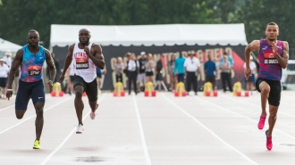 OTTAWA - JULY 07: Segun Makinde competing in the Men's 100m semi-final during the 2017 Canadian Track and Field Championships at the Terry Fox Athletic Facility in Ottawa, ON., Canada on July 7, 2017. Photo: Steve Kingsman for Sports Ottawa/Ottawa Sportspage