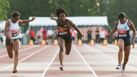 OTTAWA - JULY 07: Shyvonne Roxborough competing in the U20 Women's 100m final during the 2017 Canadian Track and Field Championships at the Terry Fox Athletic Facility in Ottawa, ON., Canada on July 7, 2017. Photo: Steve Kingsman for Sports Ottawa/Ottawa Sportspage